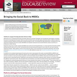 Bringing the Social Back to MOOCs