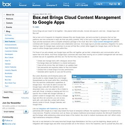 Brings Cloud Content Management to Google Apps « Box.net Blog –