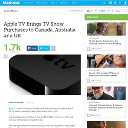 Apple TV Brings TV Show Purchases to Canada, Australia and UK