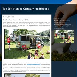 Top Self Storage Company in Brisbane: Find Benefits of Campervan Storage in Brisbane