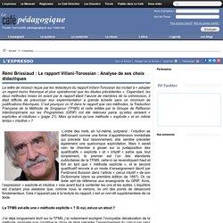 Rémi Brissiaud : Le rapport Villani-Torossian : Analyse de ses choix didactiques