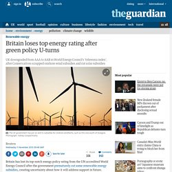 Britain loses top energy rating after green policy U-turns