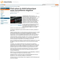 Fitch place le AAA britannique sous surveillance négative