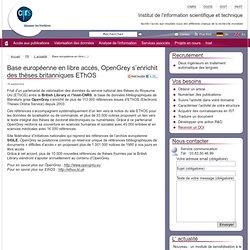 Base européenne en libre accès, OpenGrey s'enrichit des thèses britanniques (...)