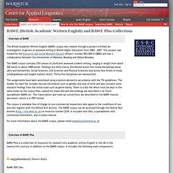 BAWE (British Academic Written English) and BAWE Plus Collections