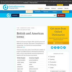 British and American terms - Oxford Dictionaries Online