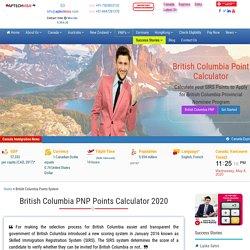British Columbia (BC PNP) PNP SIRS Points Calculator 2020
