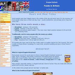 British Meals and Meal Times in England, Scotland and Wales