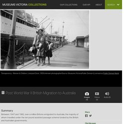 Post World War II British Migration to Australia