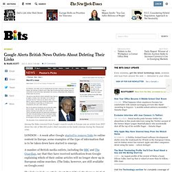 Google Alerts British News Outlets About Deleting Their Links