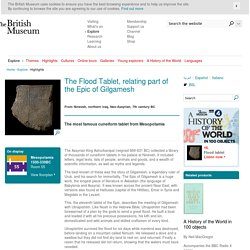 The Flood Tablet, relating part of the Epic of Gilgamesh