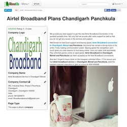 Airtel Broadband Plans Chandigarh Panchkula