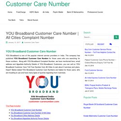 YOU Broadband Customer Care Number