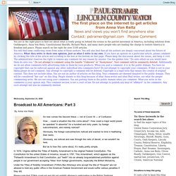 Broadcast to All Americans: Part 3