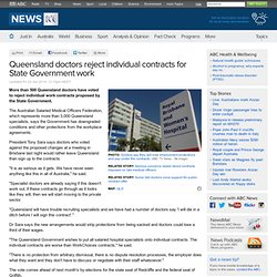 Queensland doctors reject individual contracts for State Government work
