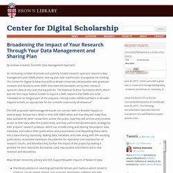Broadening the Impact of Your Research Through Your Data Management and Sharing Plan