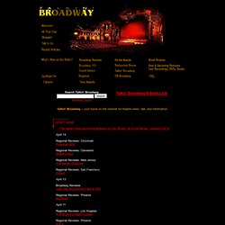 Talkin' Broadway - Broadway & Off-Broadway theatre discussion, cast recording news, reviews of musicals and drama