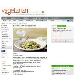 Bow Ties with Broccoli Pesto Recipe