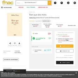 Rien que des mots - broché - Adeline Fleury - Achat Livre ou ebook - Achat & prix Fnac