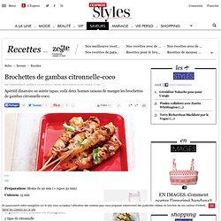 Recette Brochettes de gambas citronnelle-coco