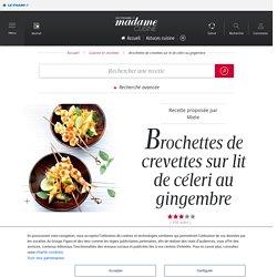 Brochettes de crevettes sur lit de céleri au gingembre - une recette Fruits de mer - Cuisine