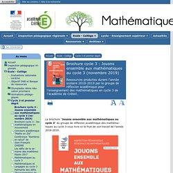 Brochure cycle 3 : Jouons ensemble aux mathématiques au cycle 3 (novembre 2019)