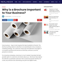 Why is a Brochure Printing Important to Your Business?