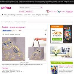 Broderie : le cabas en tissu chat