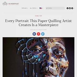 Yulia Brodskaya Creates Paper Quilling Artwork on Black Backgrounds