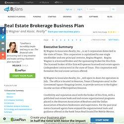 Business brokerage business plan