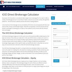 ICICI Direct Brokerage Calculator - Best India Stock Brokers