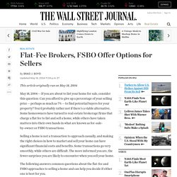 Flat-Fee Brokers, FSBO Offer Options for Sellers
