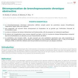 51e congrès de la Sfar. Décompensation de bronchopneumonie chronique obstructive