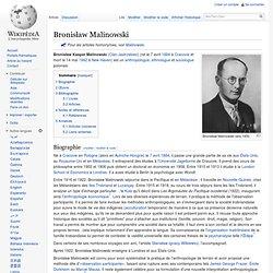 Bronisław Malinowski - Wikipédia