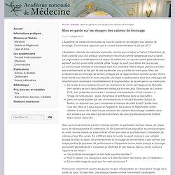 dangers des cabines de bronzage | Académie nationale de médecine