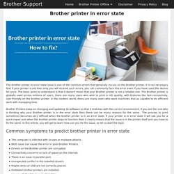 Brother printer in error state how to fix?