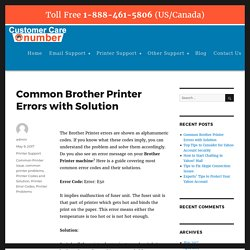 Common Brother Printer Errors with Solution – Number Customer Care