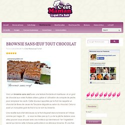 BROWNIE SANS ŒUF TOUT CHOCOLAT