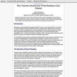 Browning- Why Teachers Should Use Timed Reading in ESL Classes