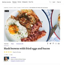 Hash browns with fried eggs and bacon