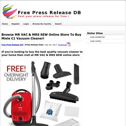 Browse Mr Vac & Mrs Sew Online Store To Buy Miele C1 Vacuum Cleaner!