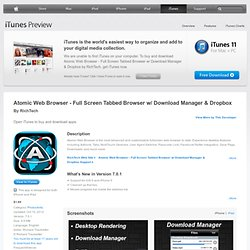 Atomic Web Browser - Browse FullScreen w/ Desktop Tabs & Ad Block for iPhone, iPod touch, and iPad on the iTunes App Store