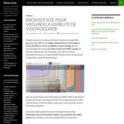 Browser Size pour mesurer la visibilité de vos pages Web « Mania