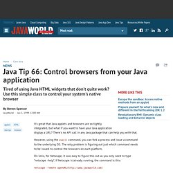 Java Tip 66: Control browsers from your Java application