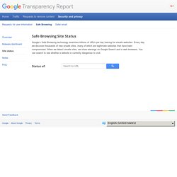 Safe Browsing Site Status – Transparency Report – Google