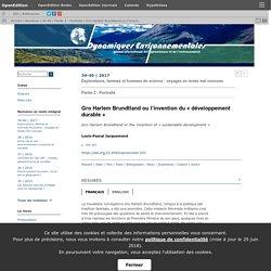 Gro Harlem Brundtland ou l'invention du «développement durable»