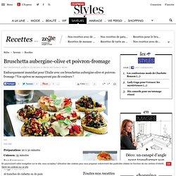 Bruschetta aubergine-olive et poivron-fromage