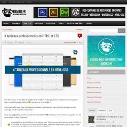 4 tableaux professionnels en HTML et CSS
