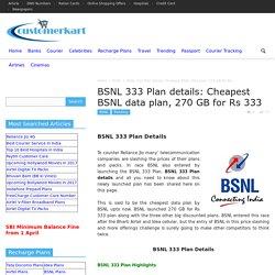 BSNL 333 Plan Details