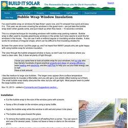 BubbleWrap Window Insulation